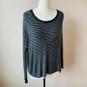 Eileen Fisher Sweater Black Gray Stripe